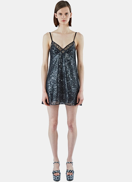 Sequinned Lace Slip Dress