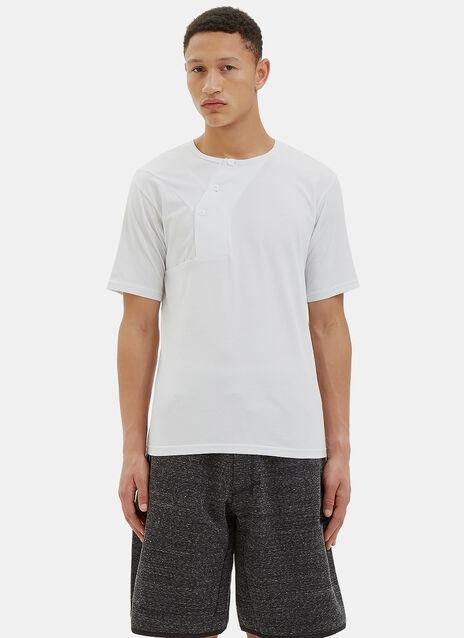 Asymmetric Buttoned Crew Neck T-Shirt