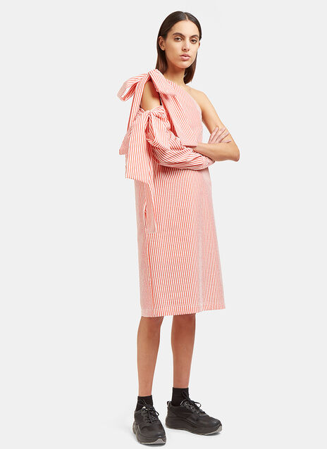 Seersucker Striped Shoulder Tie Dress