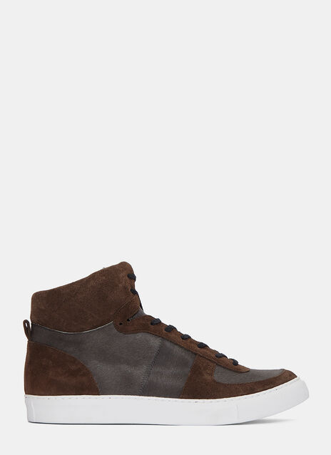 High-Top Calf Hair Panelled Sneakers