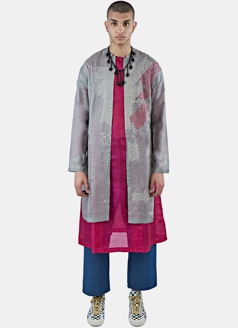 Silk Long Check-Stitched Jacket