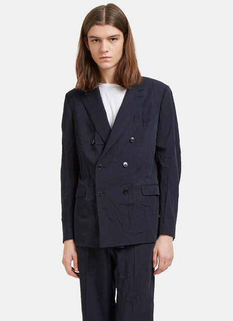 Creased Double-Breasted Blazer Jacket