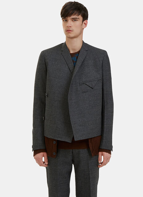 Wrap-Over Knitted Layer Blazer Jacket