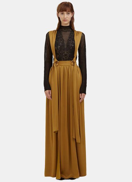 Long Satin Brace Skirt