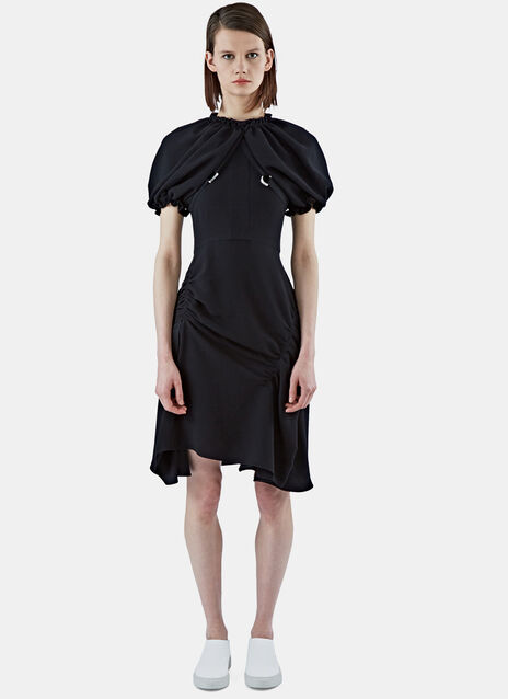 Mid-Length Ruched Sleeve Dress