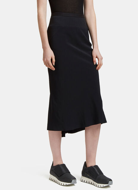 Asymmetric Stitched Mid-Length Skirt