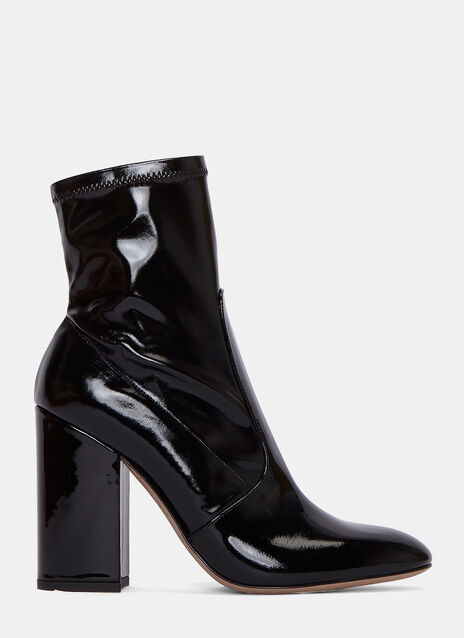 Patent Block Heeled Ankle Boots