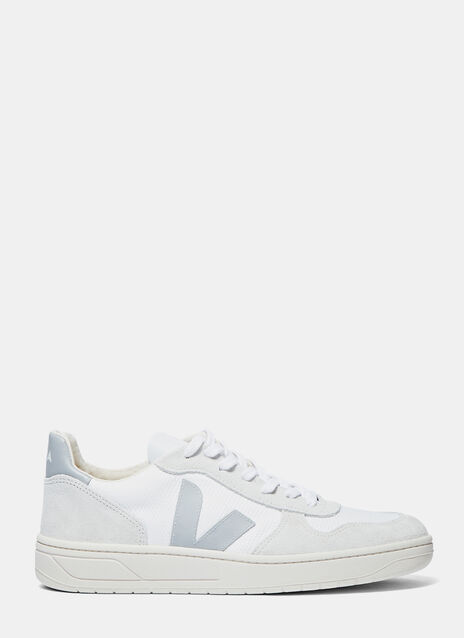 V-10 Mid-Top Mesh and Suede Panelled Sneakers