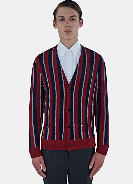 Lamé Striped Knit Cardigan
