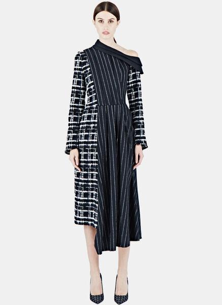 Image of Aganovich Long Pinstripe Dress