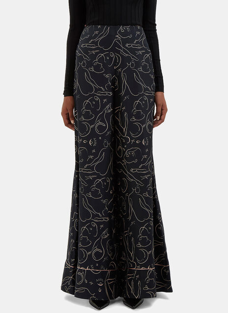 Oldridge Printed Silk Flared Pants