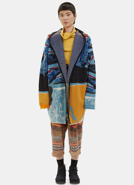 Patterned Hooded Knit Cardigan