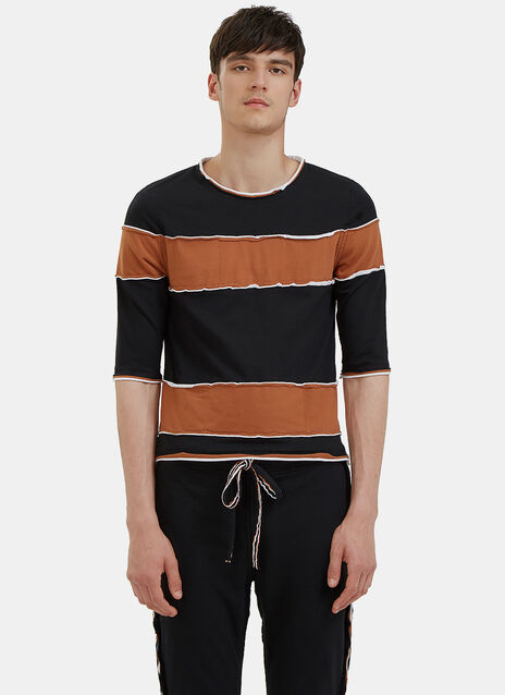 Raw Layered Crew Neck Striped T-Shirt