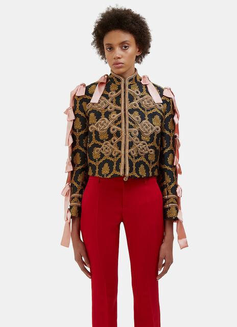 Satin Bow Woven Jacquard Matador Jacket