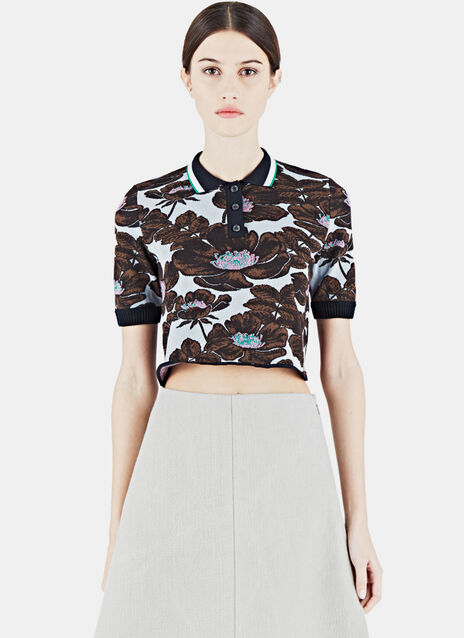 Cropped Floral Jacquard Polo Shirt