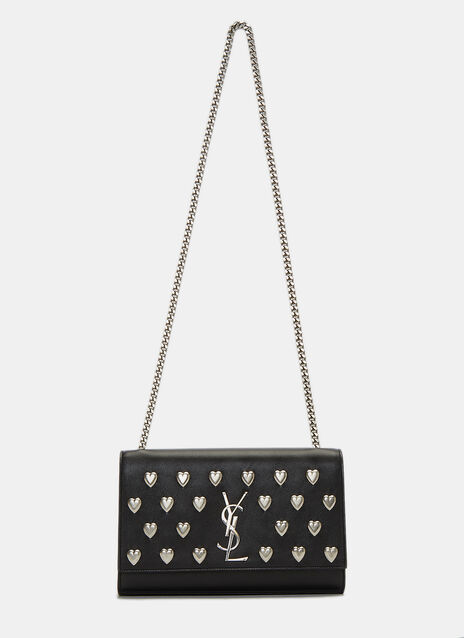 YSL Monogrammed Heart Stud Crossbody Bag