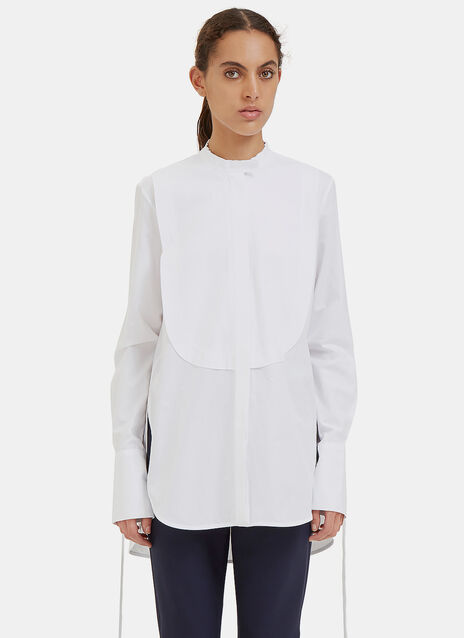 Melodrama Ruched Drawstring Sleeve Bib Shirt