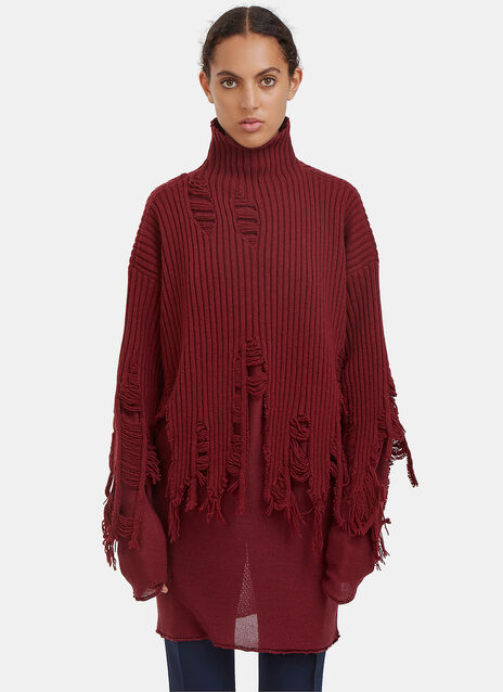 Oversized Peeling Roll Neck Sweater