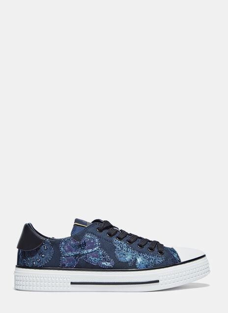 Butterfly Embroidered Low Sneakers