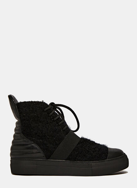 Image of Barny Nakhle Pilled Wool High-Top Sneakers