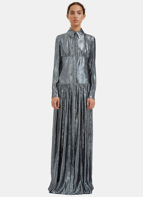 Long Metallic Lurex Shirt Dress