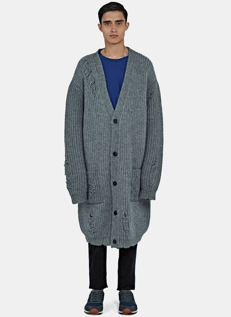 Mid-Length Oversized Laddered Cardigan
