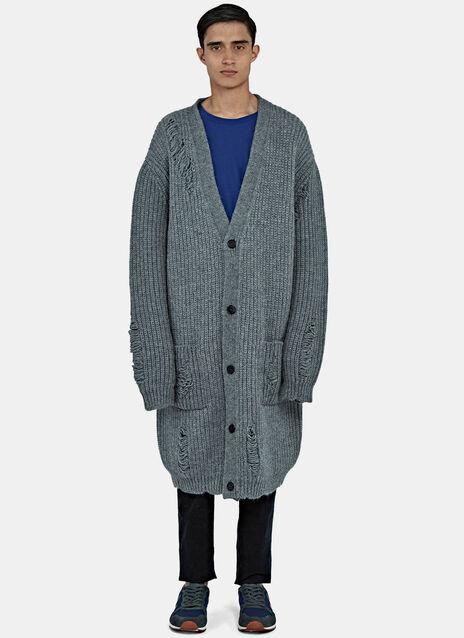 Mid-Length Oversized Laddered Cardigan