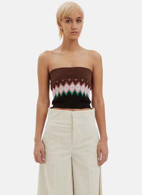 Intarsia Knit Tube Top