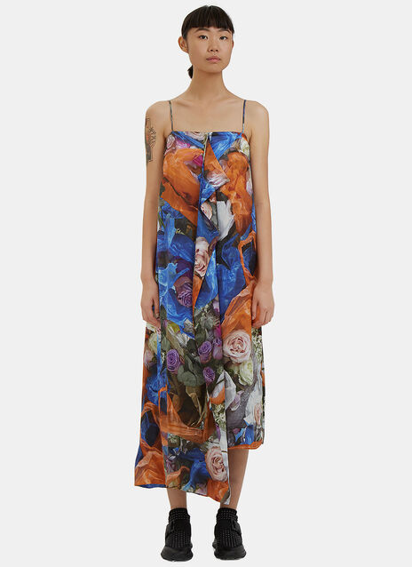 Long Floral Print Draped Slip Dress