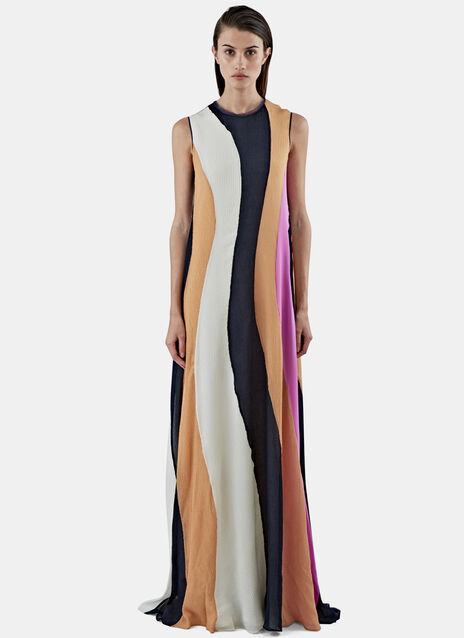 Pemba Long Seersucker Striped Dress