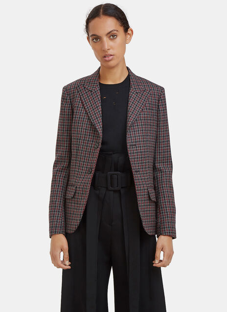 Tartan Single-Breasted Blazer Jacket