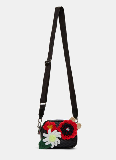 Flower Appliqué Mesh Box Crossbody Bag