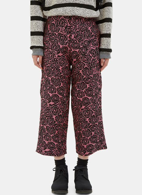 Cropped Rose Print Pants