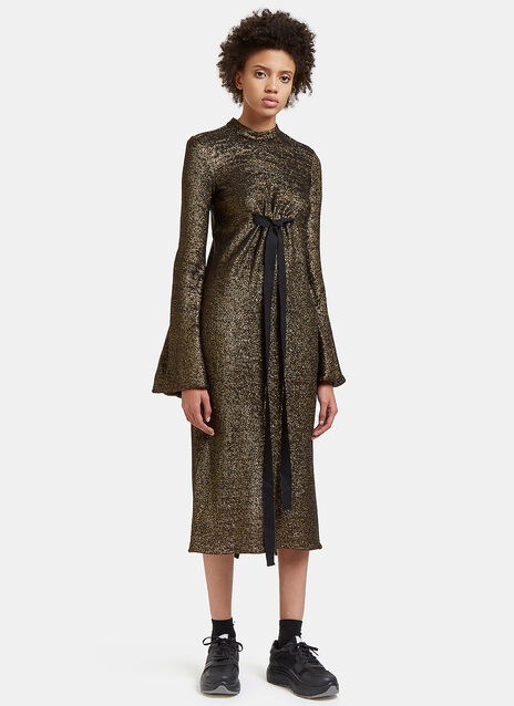 Gasp Long Flute Sleeved Metallic Dress