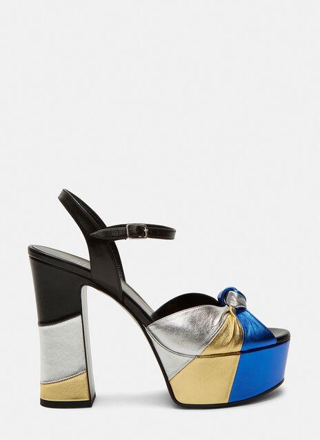 Candy 80 Metallic Bow Platform Sandals