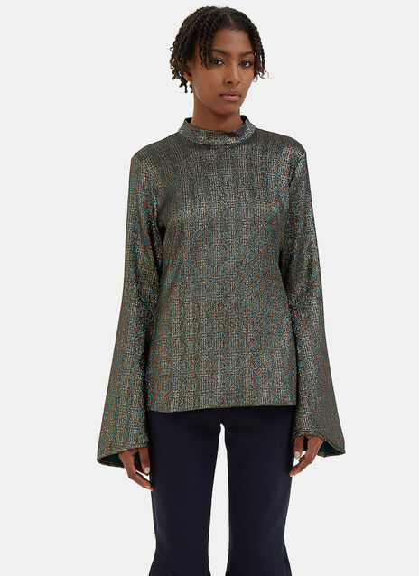 Atlantic Flute Sleeved Metallic Top