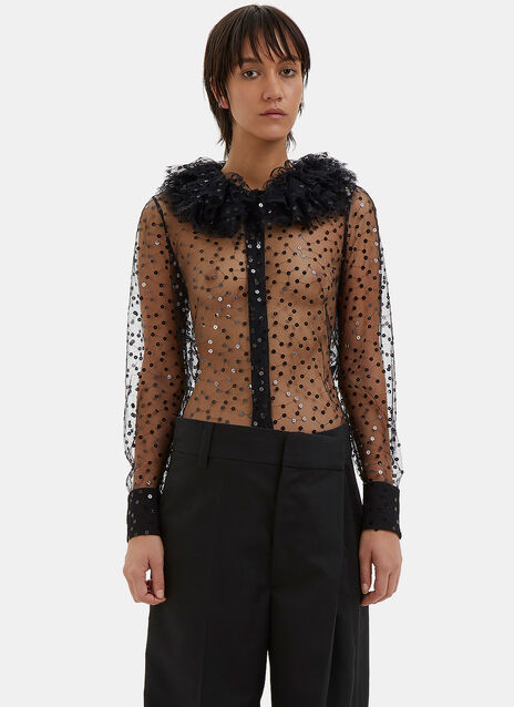 Ruffle Collared Sequin Tulle Shirt