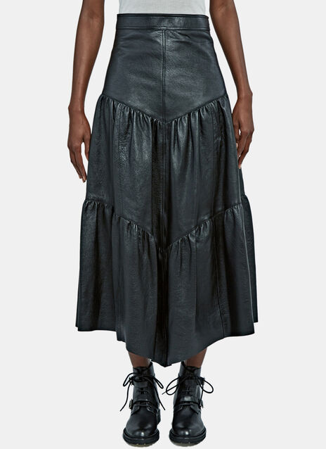 Long Tiered Leather Skirt