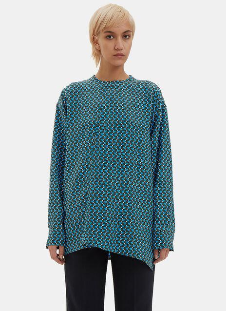 Geometric Jacquard Crêpe de Chine Shirt