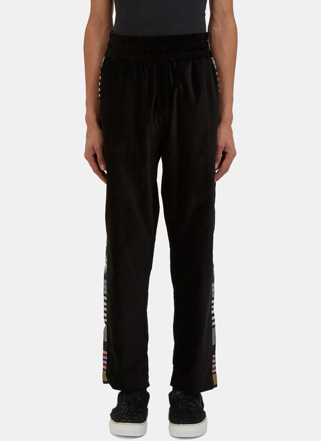 Striped Panel Velvet Jogger Pants