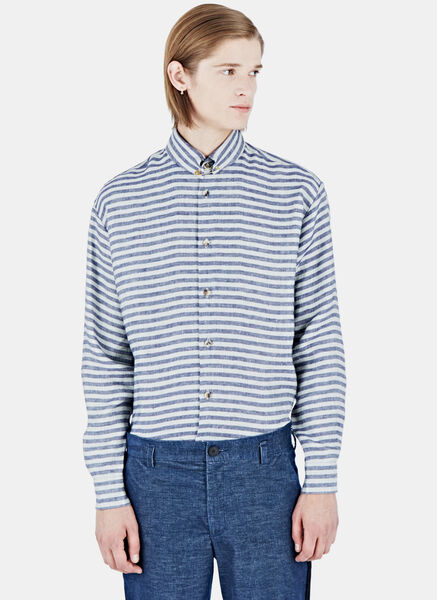 Image of Aganovich Striped Linen Shirt