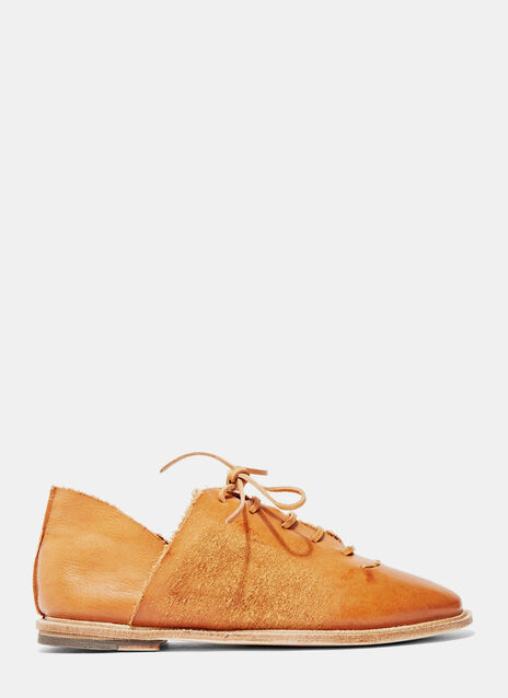 Waxed Leather Lace-Up Shoes