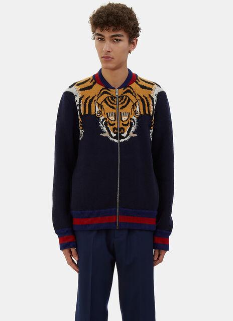 Tiger Intarsia Knit Bomber Jacket