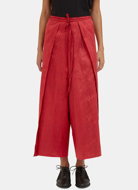 Raw Silk Wrap-Around Pants