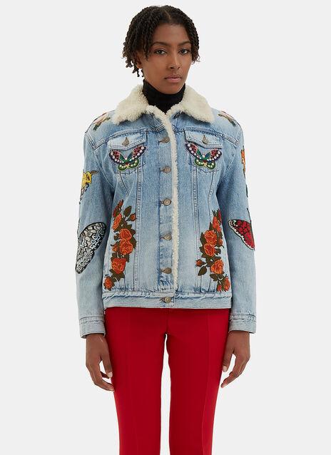 Embroidered Denim Shearling Jacket