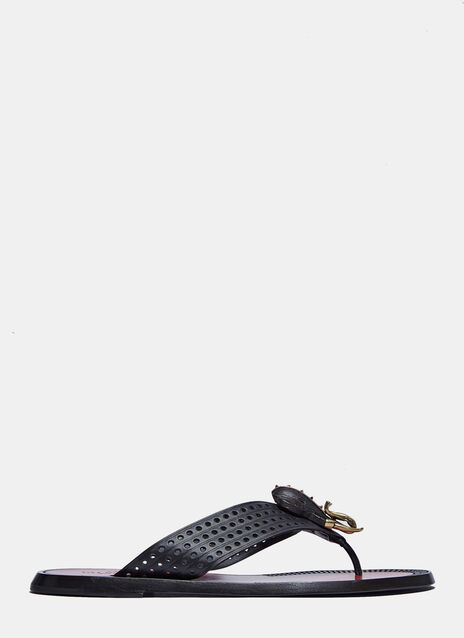 Scarab Beetle Perforated Leather Sandals