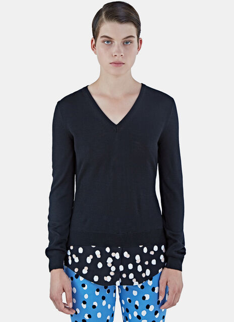Colbert V-Neck Polka Dot Fil Coupé Sweater