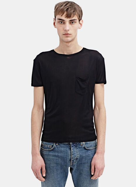 Sain Laurent Washed Silk Jersey Tshirt