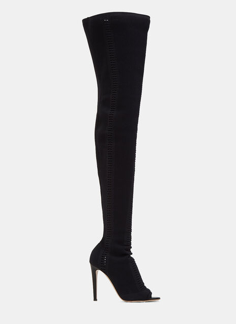 Vires Heeled Knit Thigh-High Boots