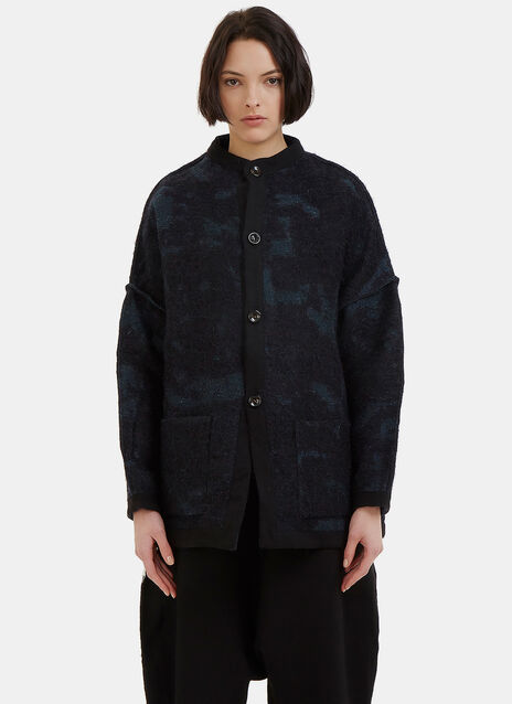 Oversized Reversible Two-Tone Mohair Knit Mao Jacket